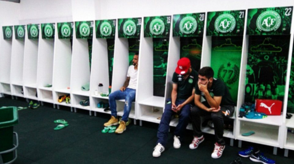 Players of Chapecoense who did not fly, via dailymail.co.uk